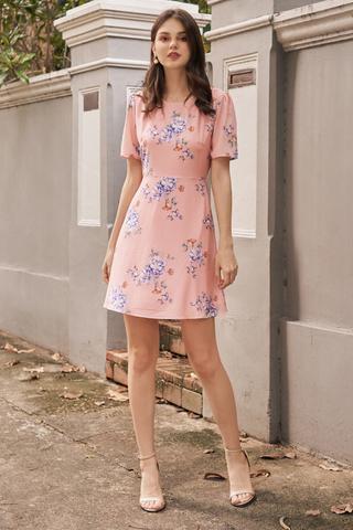 Chandler Floral Printed Dress in Pink