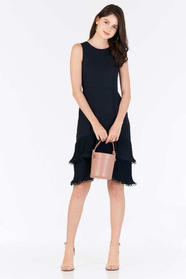 Rindora Ruffled Dress in Navy