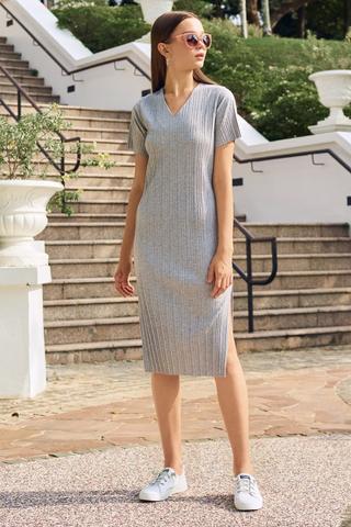 *Backorder 4* Eleanor Pleated Dress in Grey