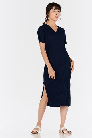 *Backorder 4* Eleanor Pleated Dress in Navy