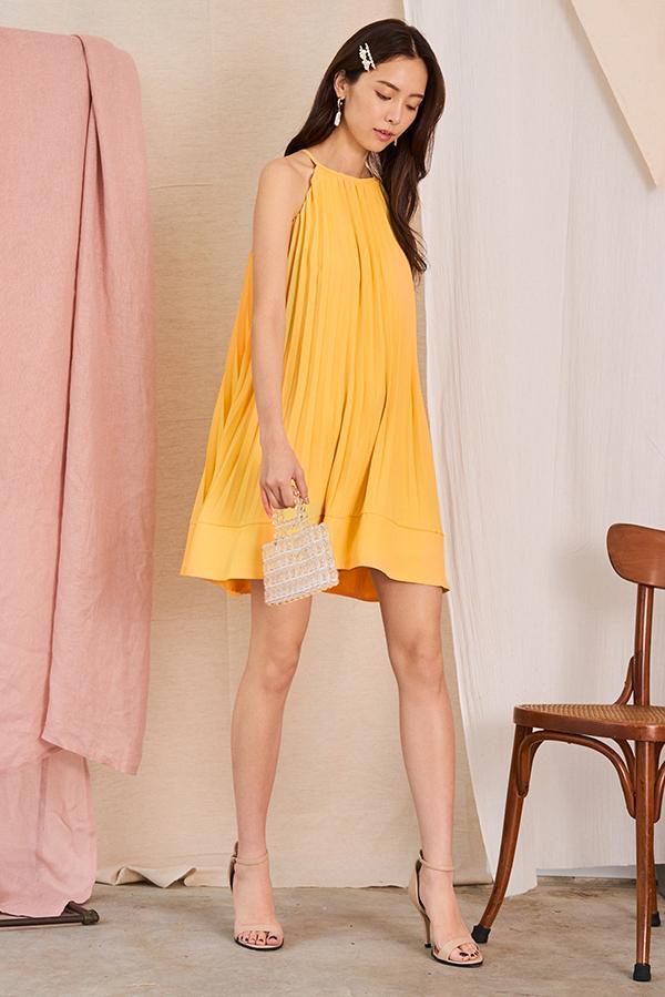 Camillia Pleated Swing Dress in Daffodil
