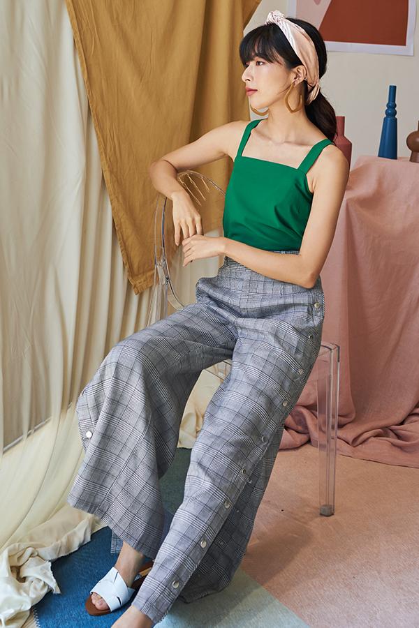 Grenda Plaids Side Buttoned Pants