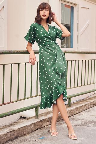 Jayna Polka Dotted Midi Dress in Green