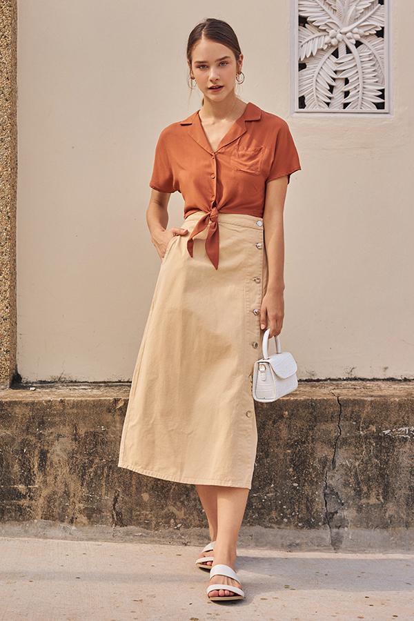 Baylee Denim Midi Skirt in Khaki