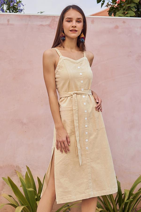 Nola Corduroy Midi Dress in Cream