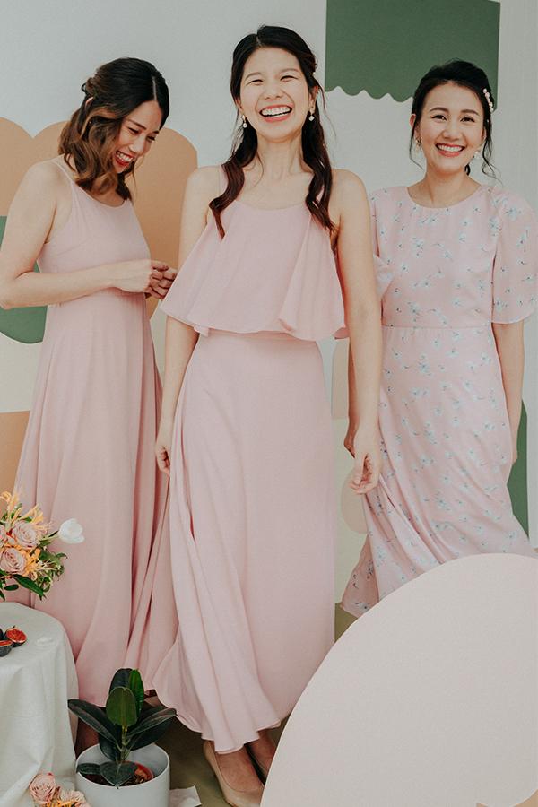 Kalesia Midi Skirt in Pink