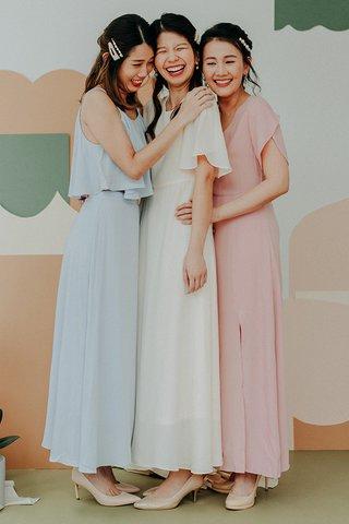 Lynette Flutter Sleeved Dress in Cream