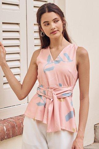 Olinda Abstract Printed Buckle Top in Pink