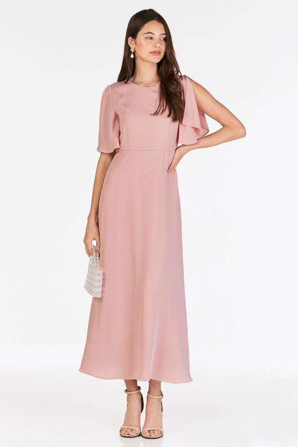 Lynette Flutter Sleeved Dress in Pink