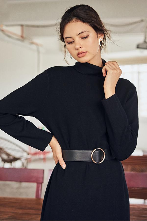 Brooke Turtleneck Midi Dress in Black