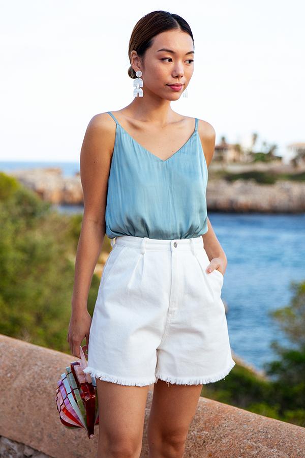 *Restock* Benita Frayed Denim Shorts in White