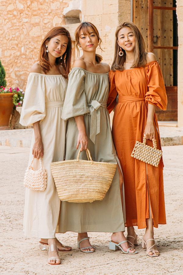 Mireia Off Shoulder Dress in Rust
