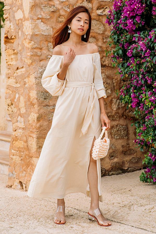 Mireia Off Shoulder Dress in Wheat