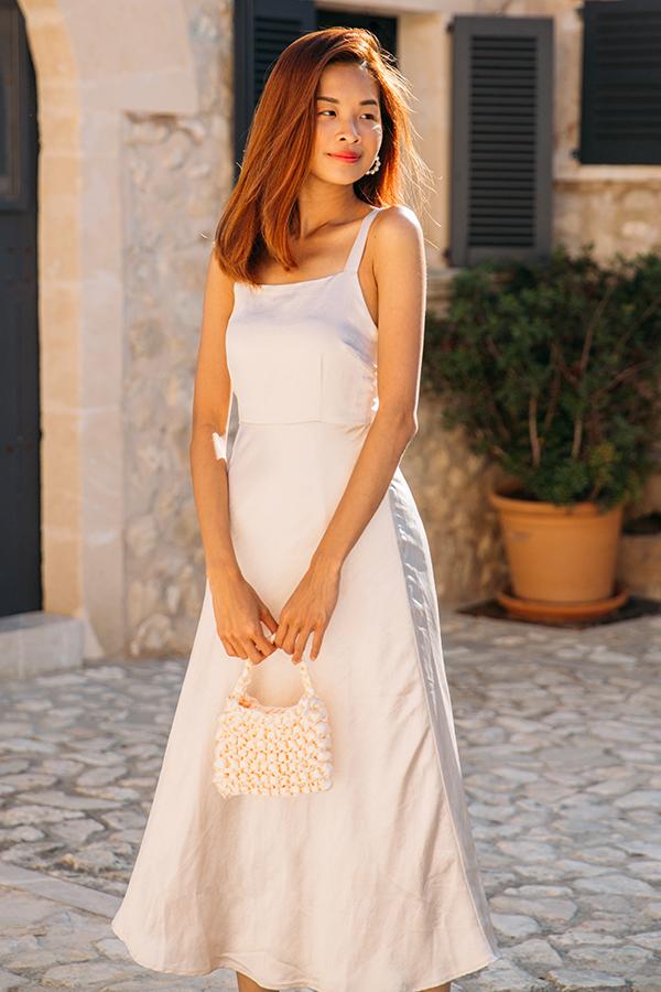 *Restock* Lucia Satin Dress in Champagne