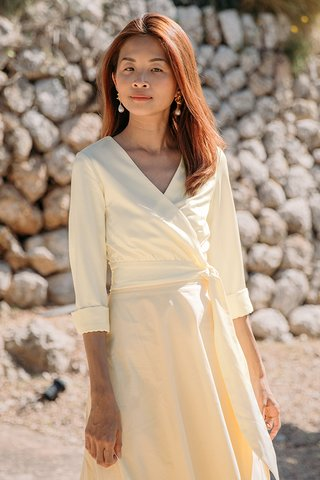 Elodia Satin Wrapped Top in Cream