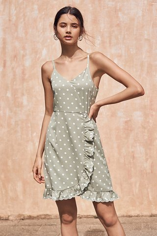 Jeana Dotted Dress in Sage