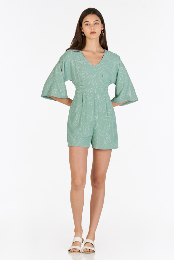 Madilyn Foliage Printed Romper in Seafoam
