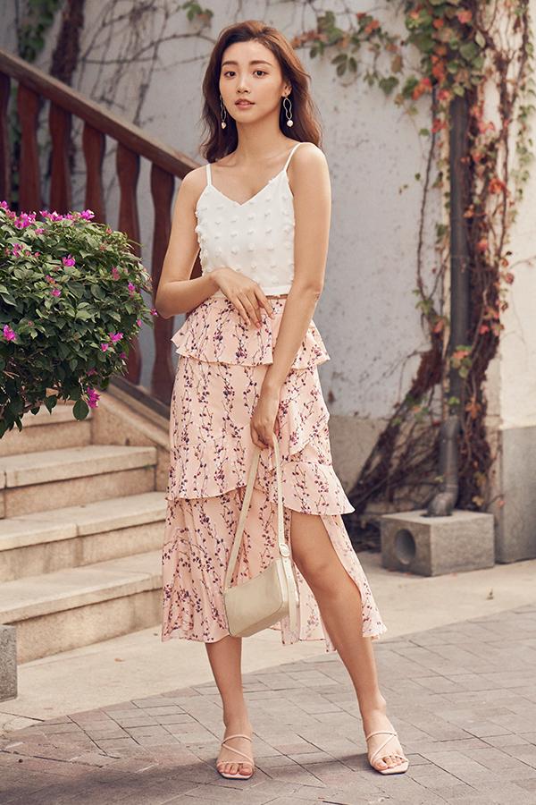 Sadra Ruffled Midi Skirt in Pink