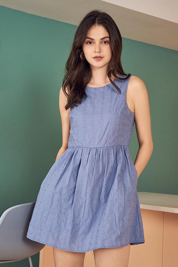 Emmalyn Eyelet Skirt Romper in Periwinkle