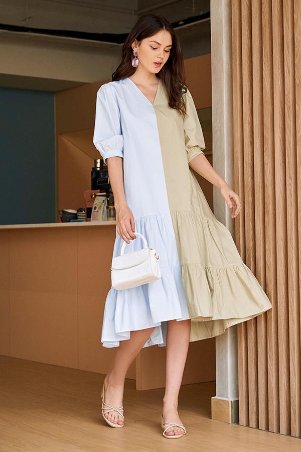 Caily Colourblock Midi Dress in Sage