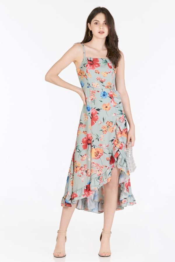 Mellia Ruffled Midi Dress in Sage