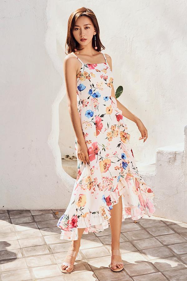 Mellia Ruffled Midi Dress in Cream