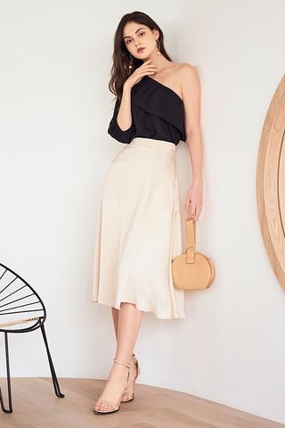 Caddie Satin Midi Skirt in Cream