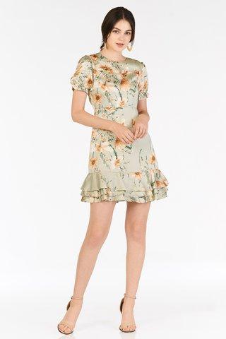 Bellarose Ruffled Dress in Green Lily