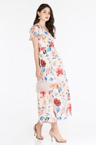 Mellia Sleeved Maxi Dress in Cream