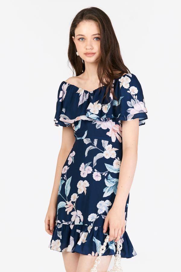 *Restock* Adah Ruffled Dress in Navy