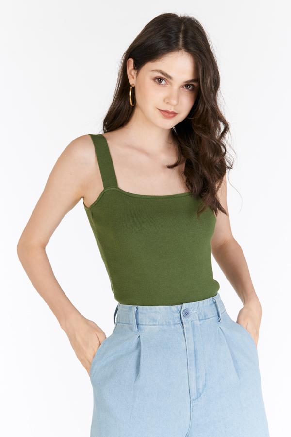*Restock* Brea Knitted Top in Aspen Green