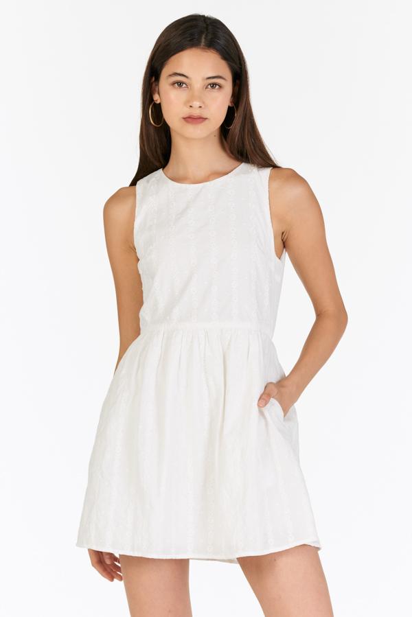 Emmalyn Eyelet Skirt Romper in White