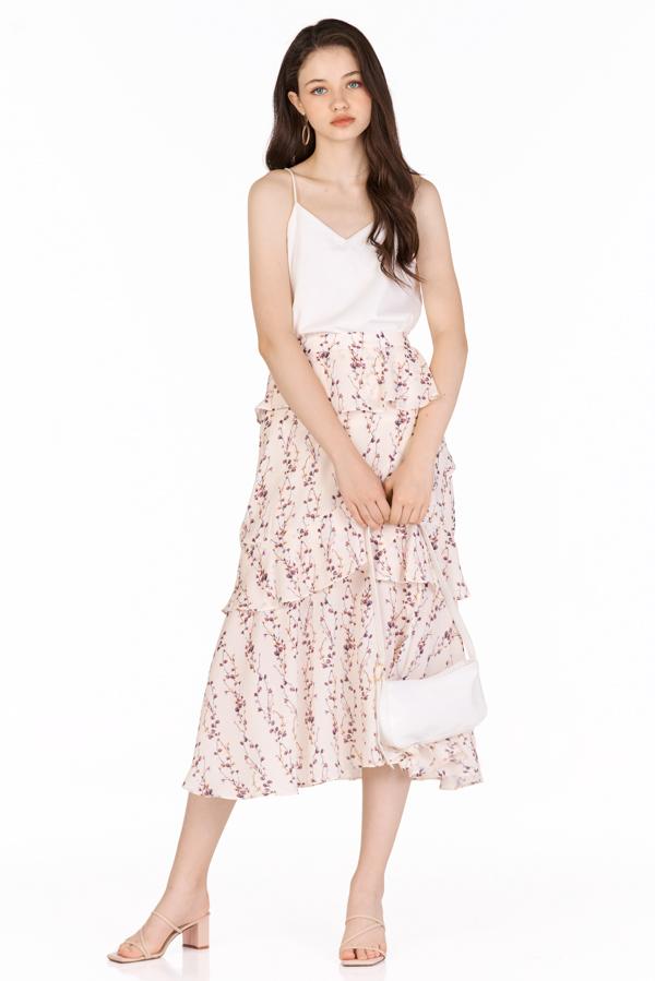 Sadra Ruffled Midi Skirt in Cream