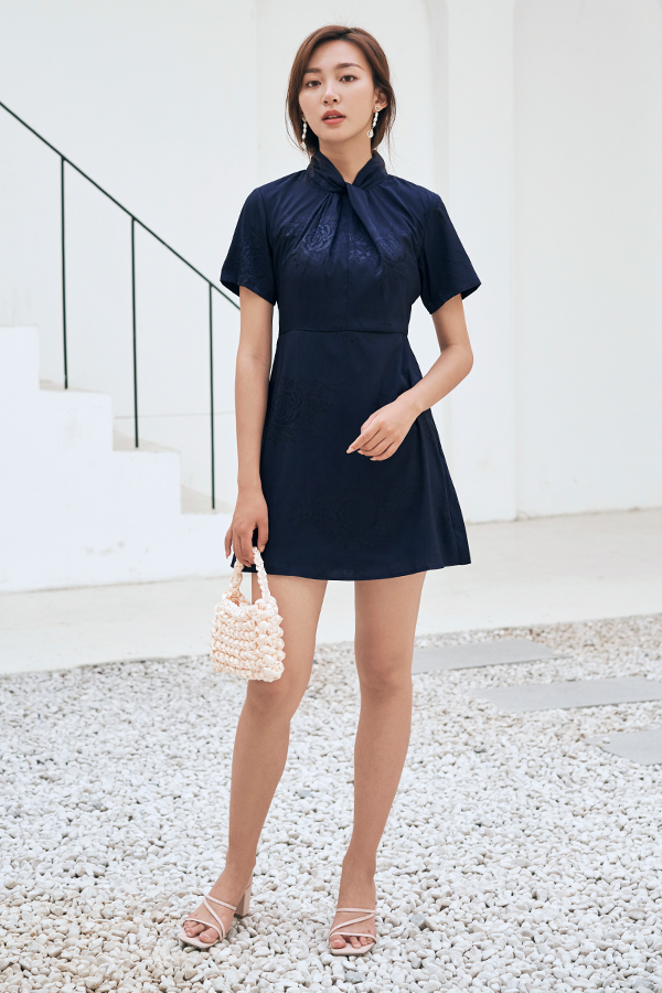 Meghan Embossed Dress in Navy