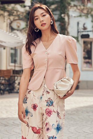 Yves Button Top in Powder Pink