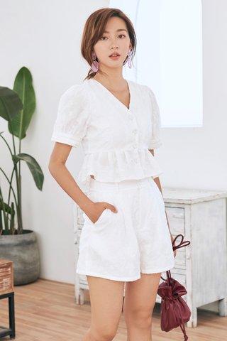 Jolie Embossed Shorts in White