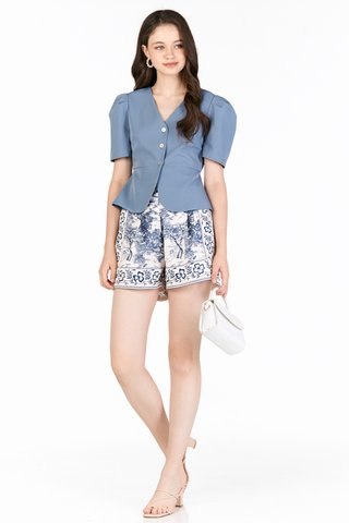 Yves Button Top in Periwinkle