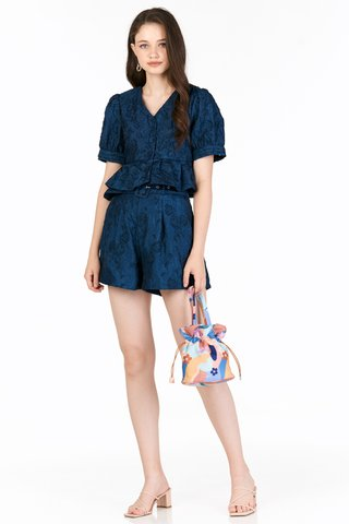 Jolie Embossed Shorts in Blue