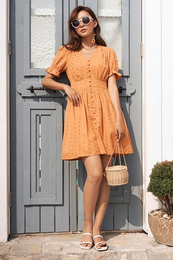 Carmela Eyelet Dress in Sunrise Orange