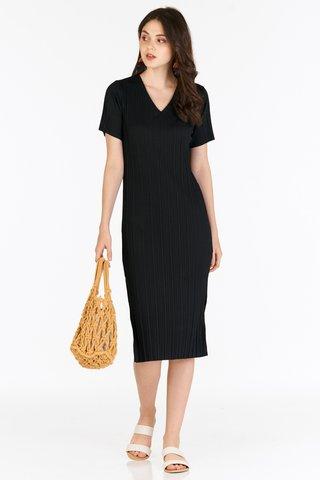 *Backorder 3* Eleanor Pleated Dress in Black