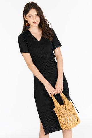 *Restock* Eleanor Pleated Dress in Black