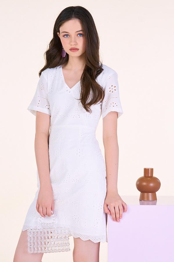 Danite Eyelet Dress in White