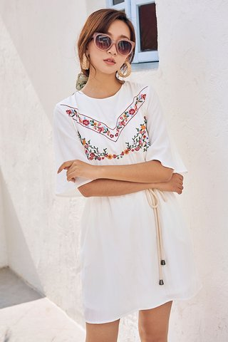 Arie Embroidered Dress in White