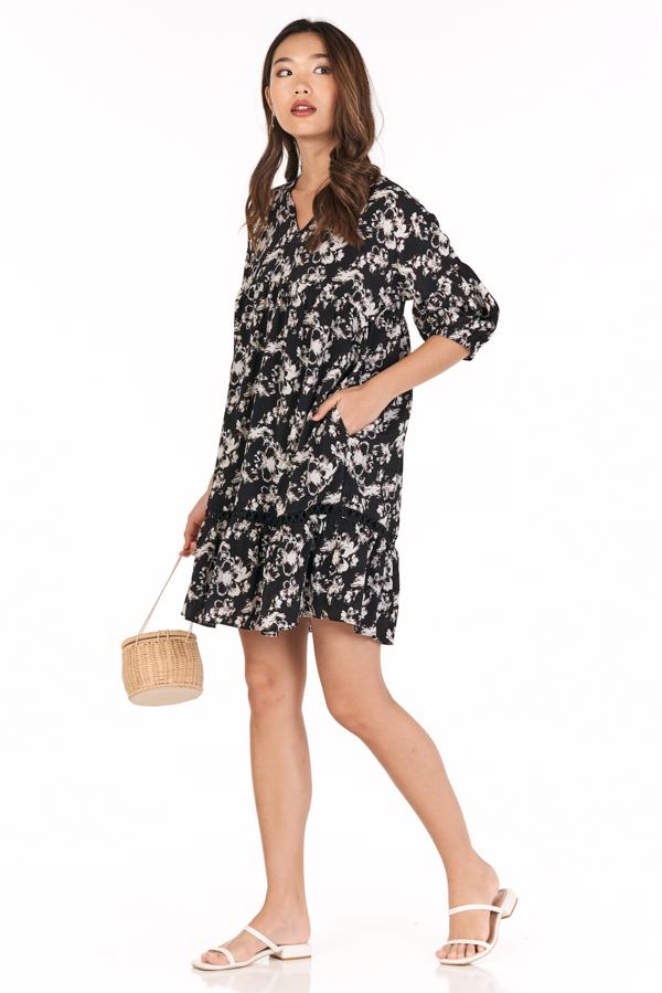 Nihola Babydoll Dress in Black
