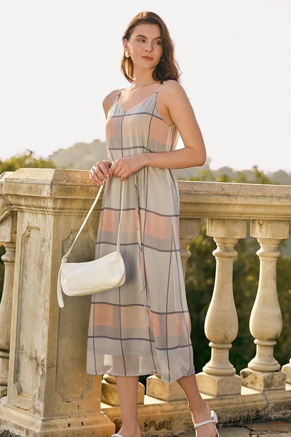 Odelia Plaids Two Way Slip Dress