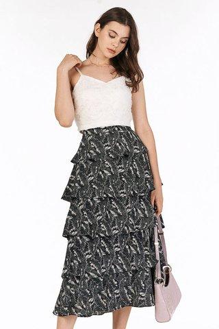 Kassidy Ruffled Midi Skirt in Black