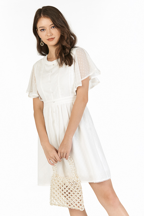 Elowen Dotted Dress in White