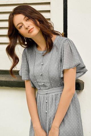Elowen Dotted Dress in Dusty Blue