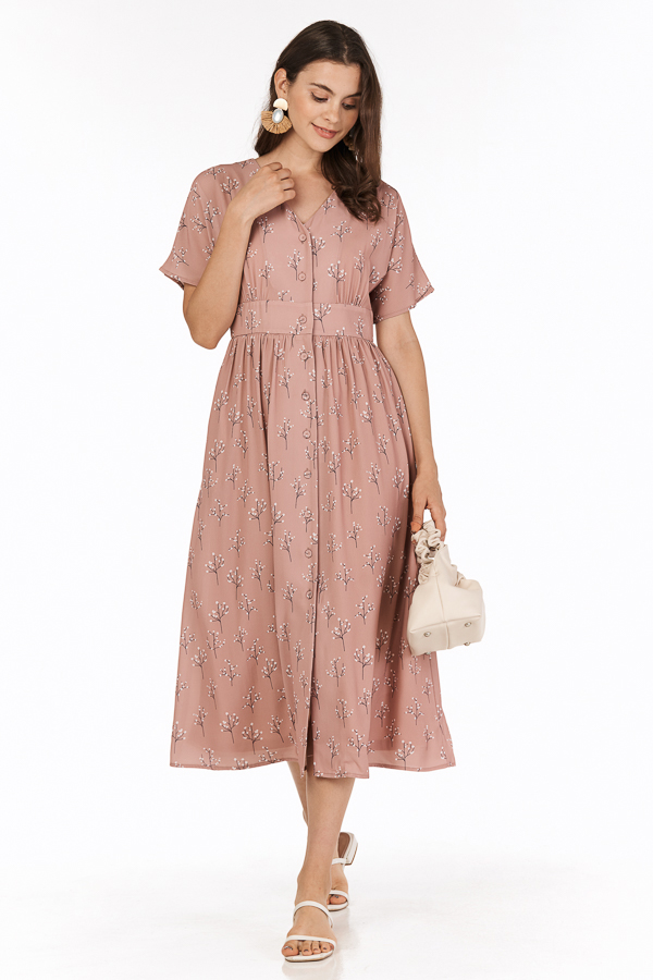 Adabelle Midi Dress in Dusty Pink