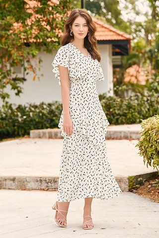 Bianca Sleeved Maxi Dress in White